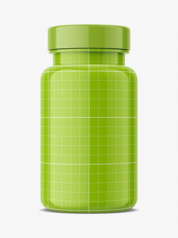 Glosy pharmacy jar mockup