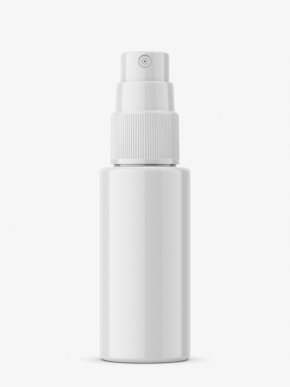 Glossy push spray bottle mockup