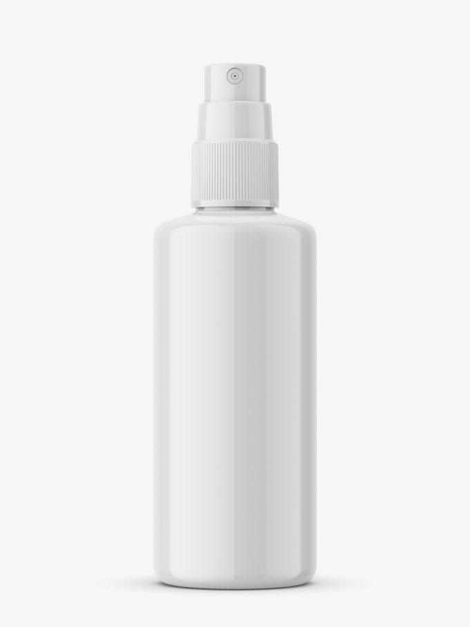 Glossy push spray bottle mockup
