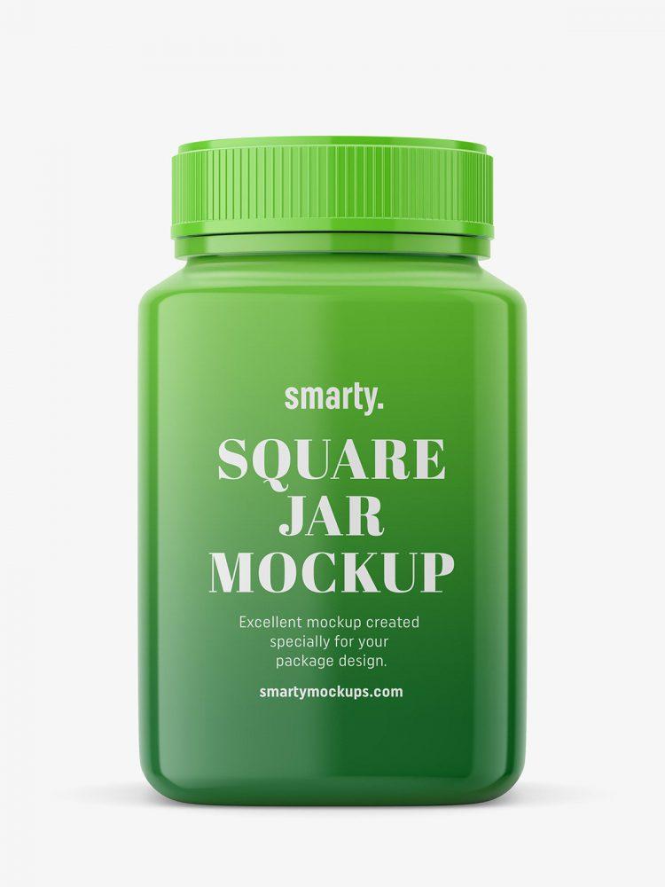 Square glossy jar mockup