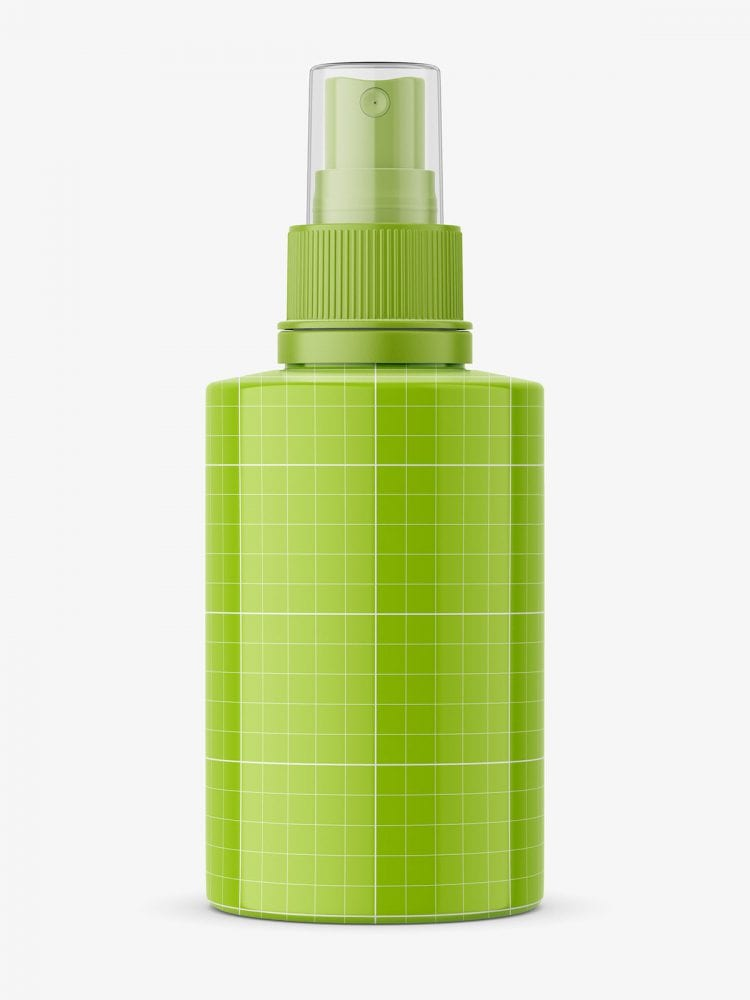 Small glossy bottle with push spray mockup