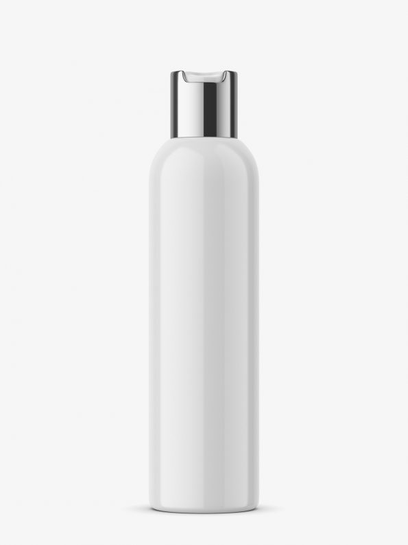 Glossy bottle with silver press cap mockup