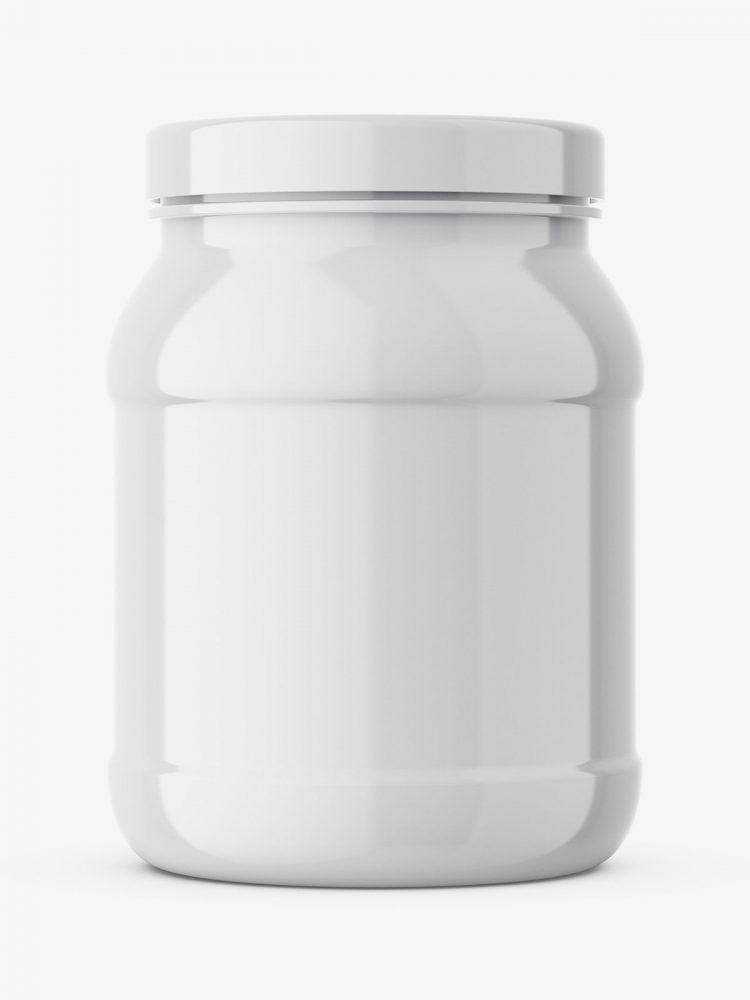 Glossy shake powder jar mockup