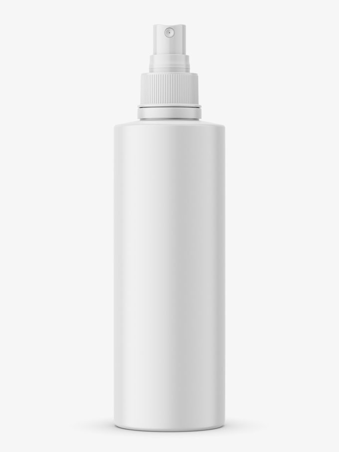 Glossy bottle with push spray mockup