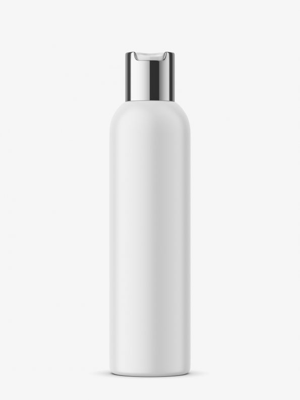 Matt bottle with silver press cap mockup