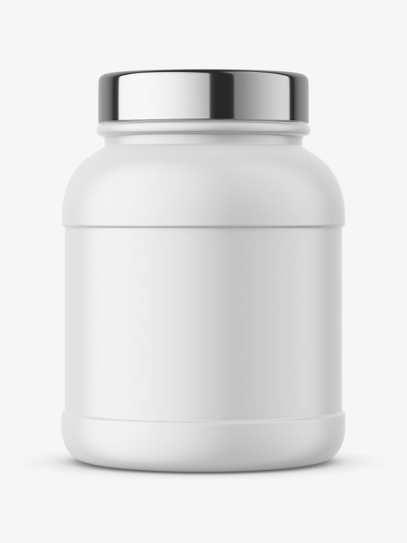 Nutrition jar mockup with silver cap - matt