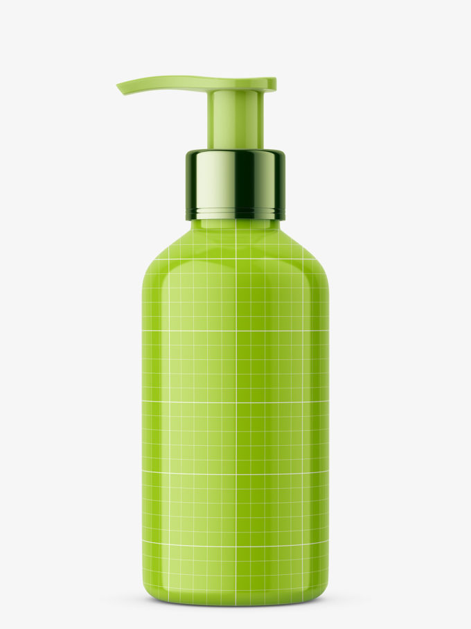 Glossy cosmetic bottle with pump