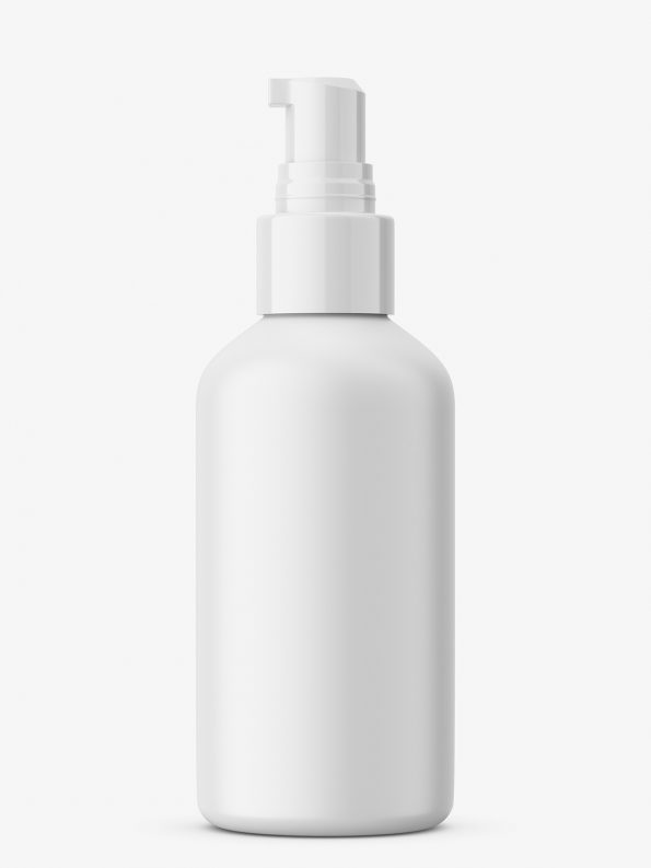 Matt cosmetic bottle with pump