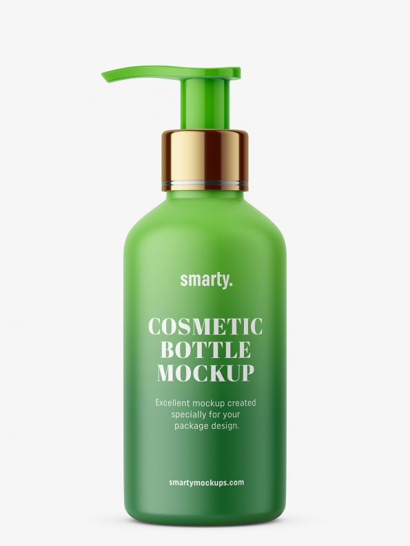 Matt cosmetic bottle with pump