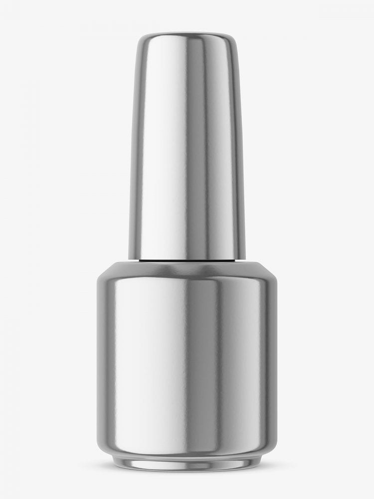 Metallic nail polish bottle mockup