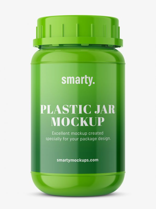 Glossy pharmacy jar mockup