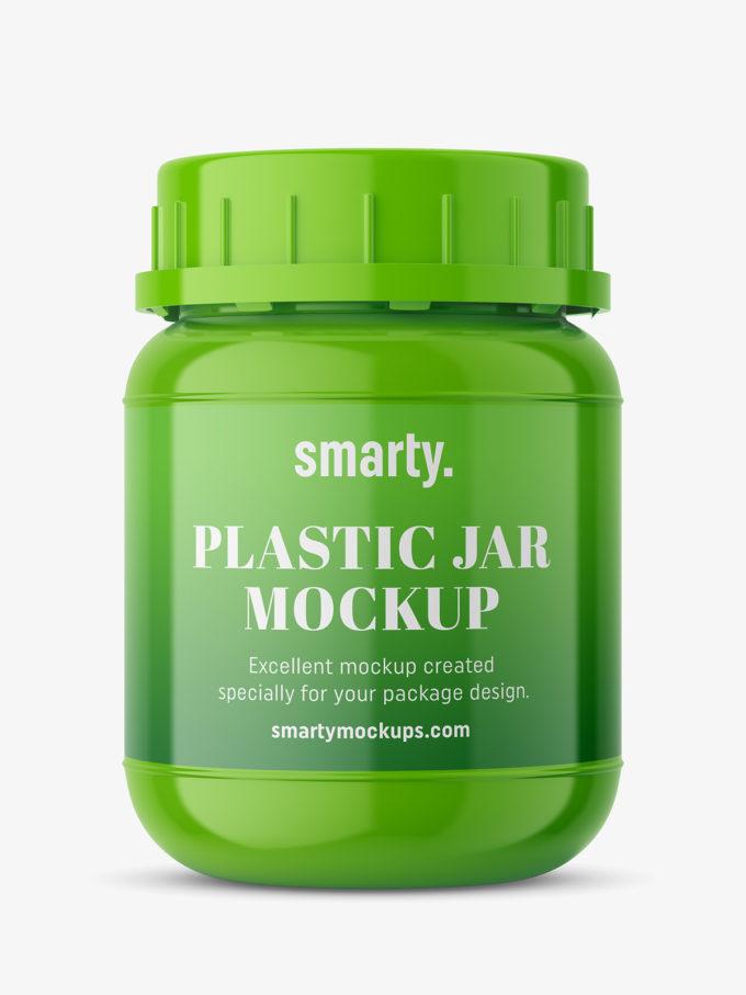 Glossy pharmacy jar mockup