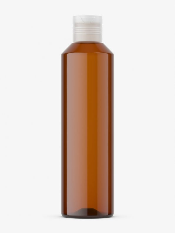Amber bottle with semi transparent cap