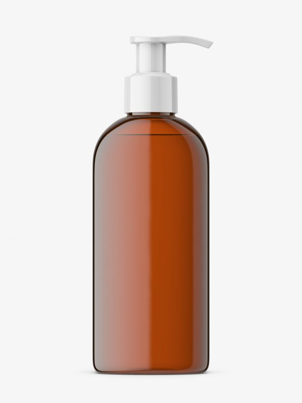 Rectangle bottle with pump mockup / amber