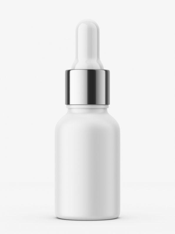 Matt plastic bottle with silver dropper / 10 ml