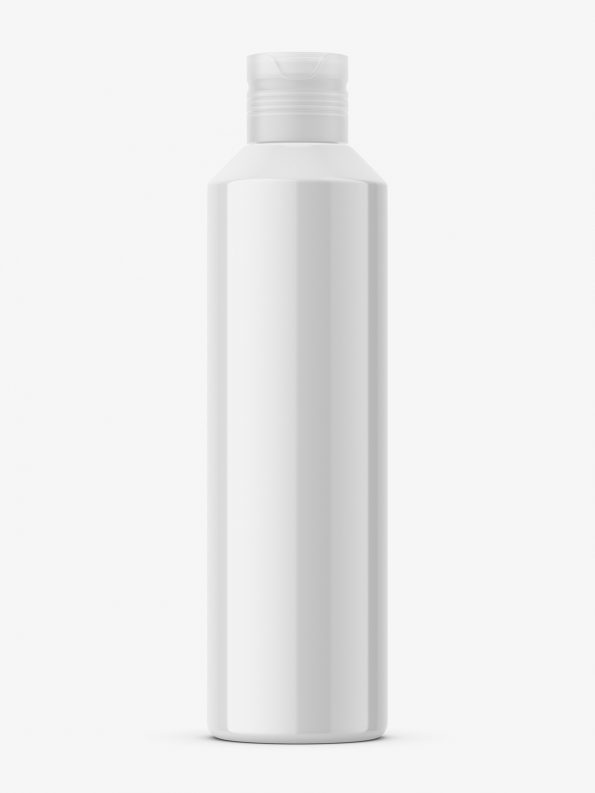 Glossy bottle with spray cap mockup