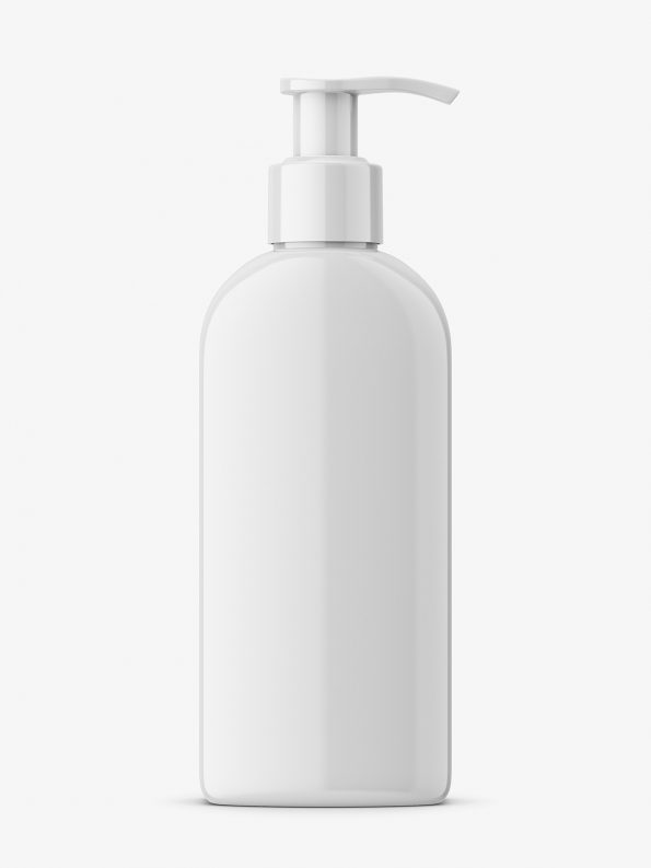 Rectangle bottle with pump mockup / glossy