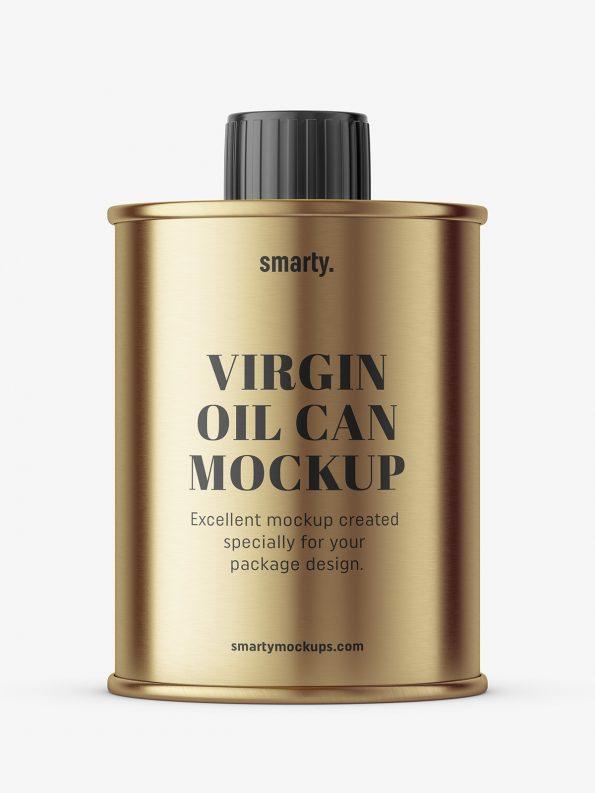Virgin oil can mockup