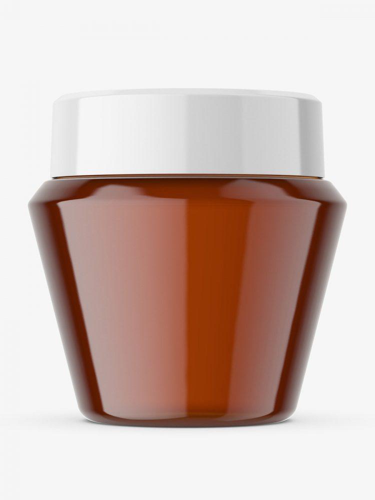 Narrowing amber jar mockup