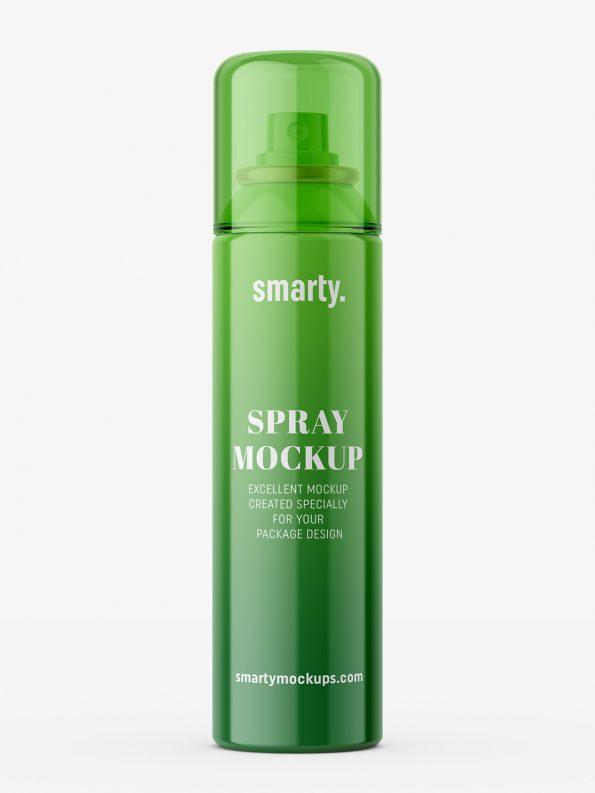 Glossy cosmetic spray mockup