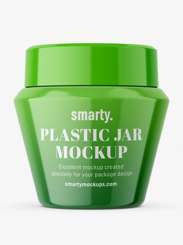 Narrowing glossy jar mockup
