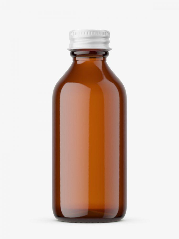 Amber bottle with screw cap mockup