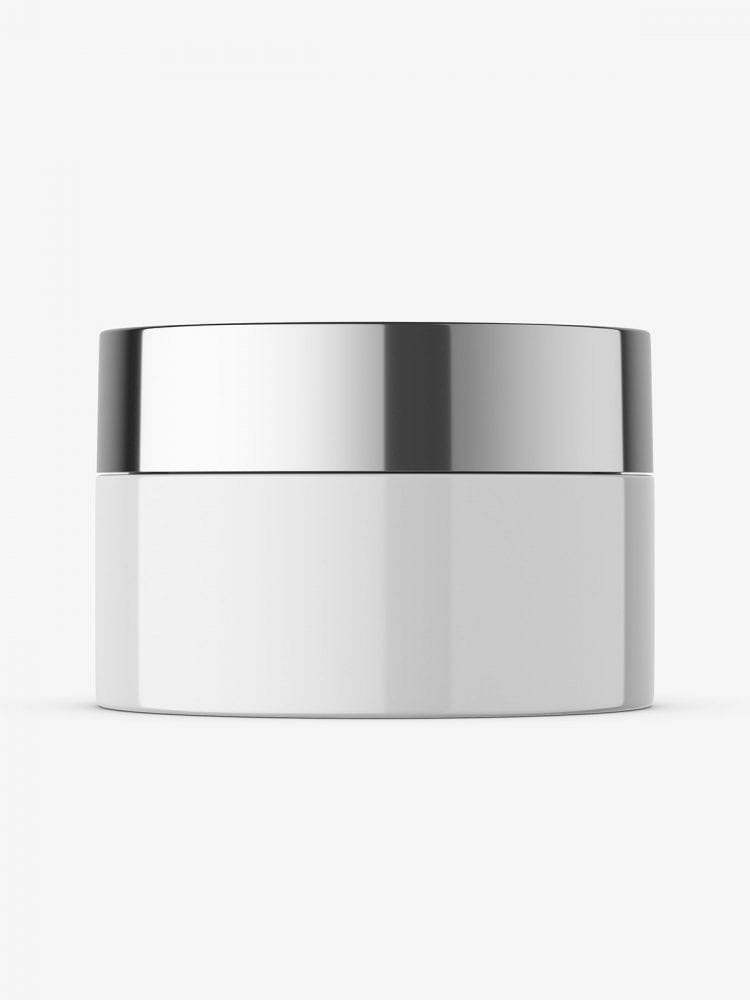 Glossy cosmetic jar with metallic cap mockup