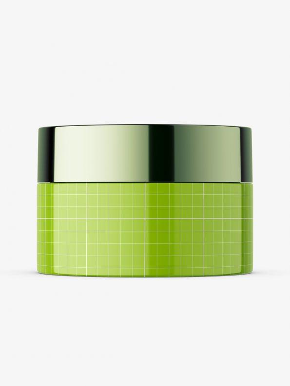 Glossy cosmetic jar with metallic cap mockup
