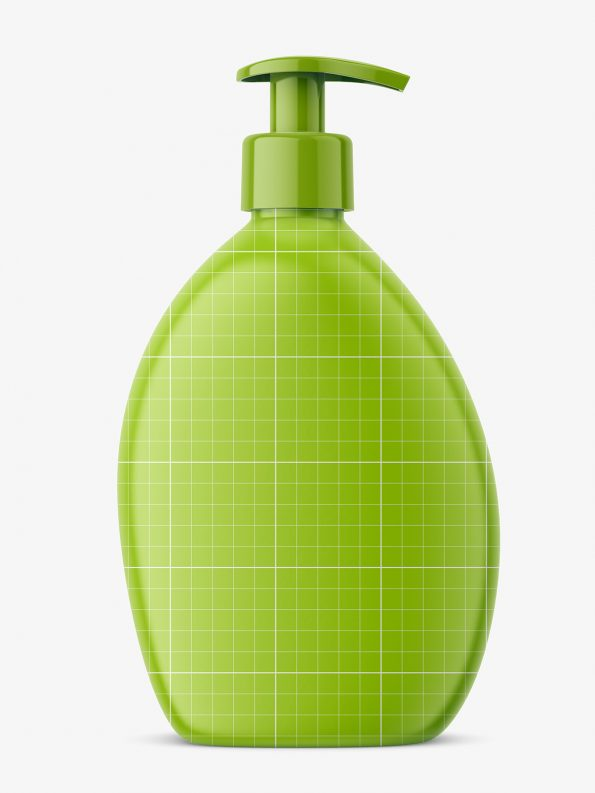 Transparent soap bottle mockup
