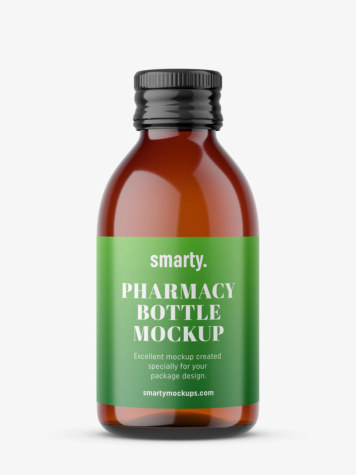 Download Pharmacy amber bottle mockup - Smarty Mockups Free Mockups