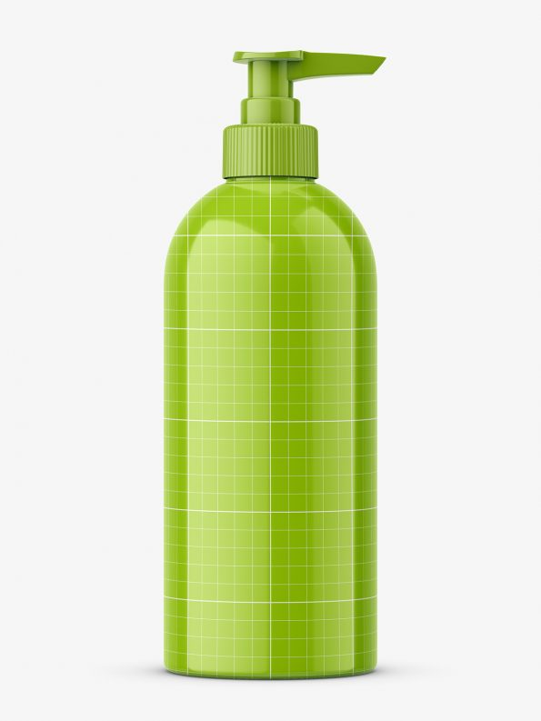Plastic glossy bottle with pump mockup