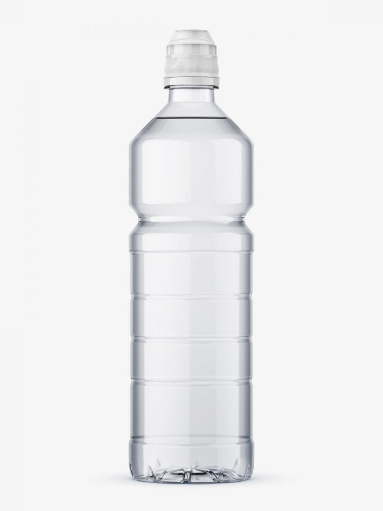 Clear mineral water bottle mockup