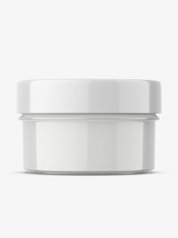Transaparent jar filled with cream mockup