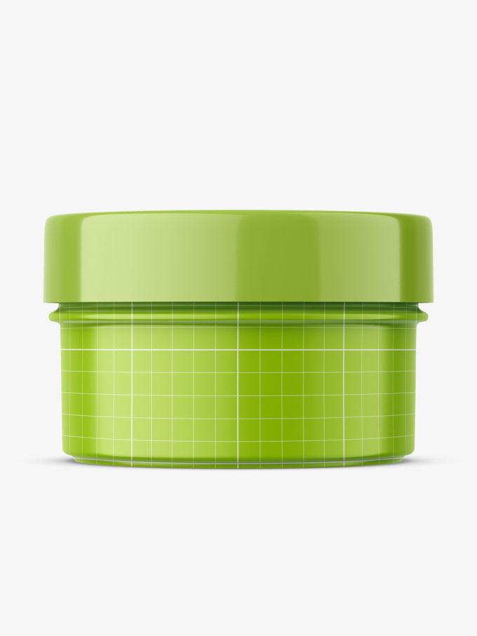 Transaparent jar filled with cream mockup