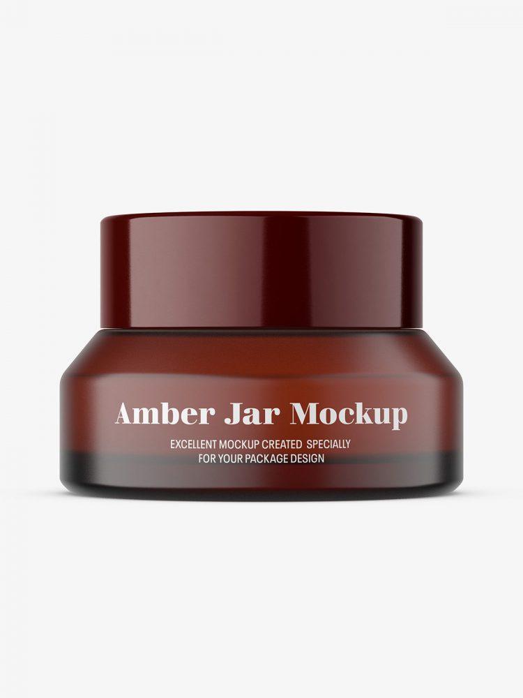 Amber cream jar mockup / 15 g