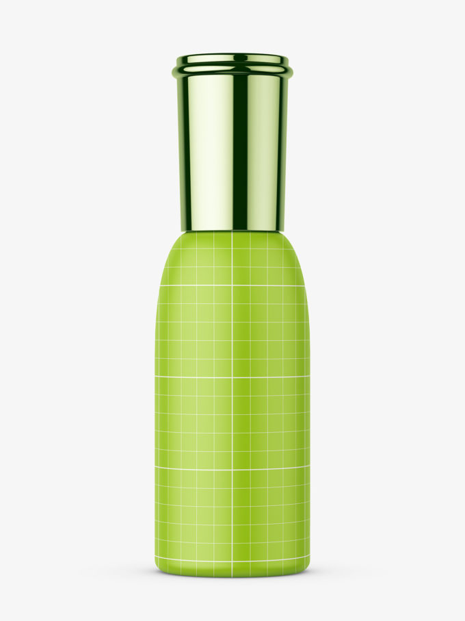Cosmetic bottle with metallic cap mockup