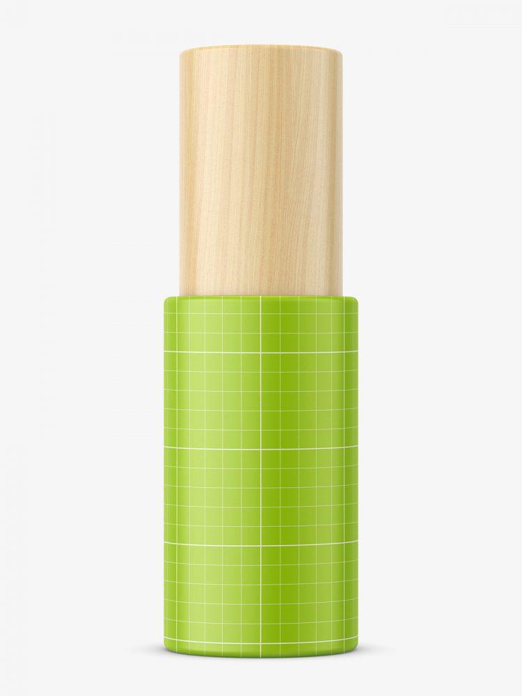 Matt bottle with wooden cap mockup