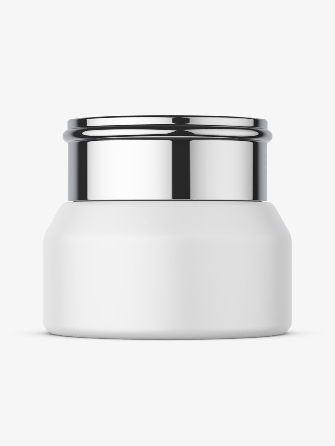 Cosmetic jar with metallic cap mockup