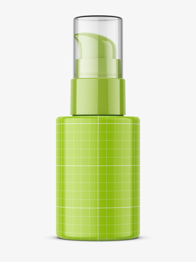 Glass bottle with airless pump mockup