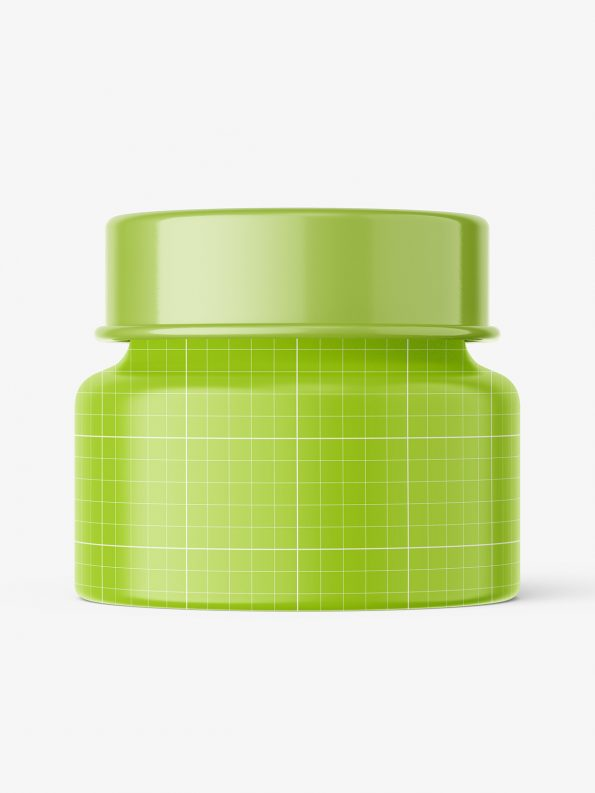 Glass cosmetic jar with glossy cap mockup