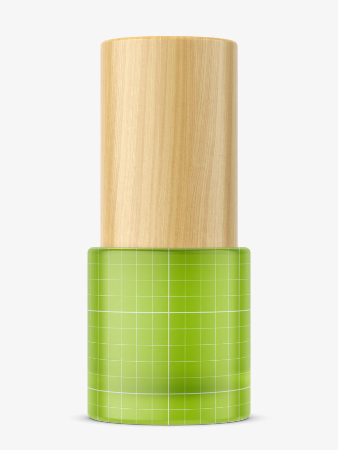 Frosted bottle with wooden cap mockup