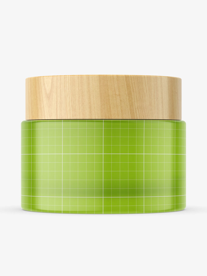 Frosted jar with wooden cap mockup