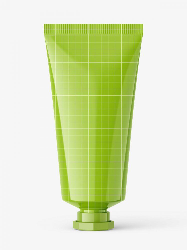 Glossy tube with octagonal cap mockup