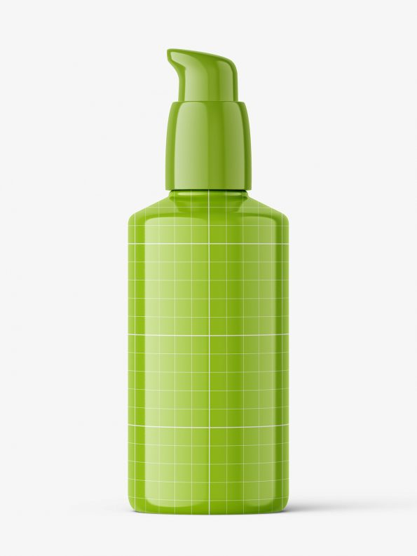 Glossy plastic airless bottle mockup