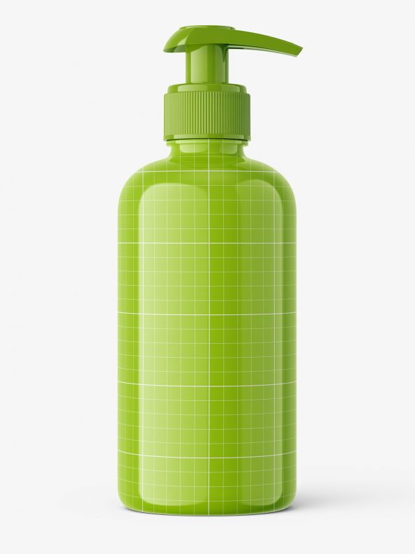 Universal bottle with pump mockup / glossy