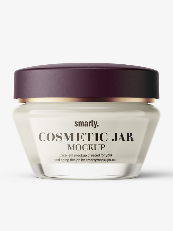 Glass cosmetic jar with matt cap mockup