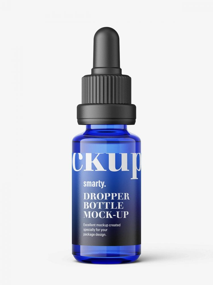 Blue dropper bottle mockup / 15ml