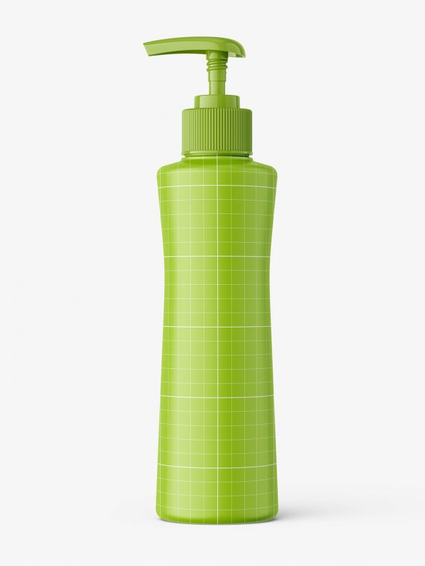 Round bottle with pump mockup / matt