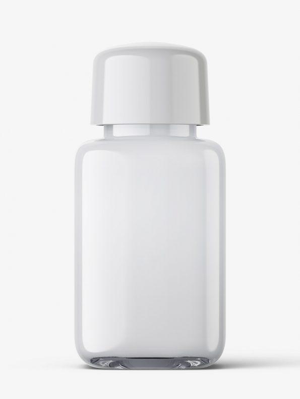 Square bottle with acryllic liquid mockup