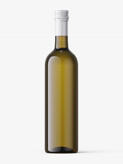 White wine in dark bottle mockup
